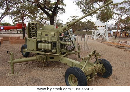 Anti-aircraft autocannon Bofors 40mm in open air museum Woomera Australia poster