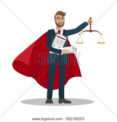 Lawyer Winning Case Cartoon Vector Illustration. Civil, Administrative Law University Department Tut