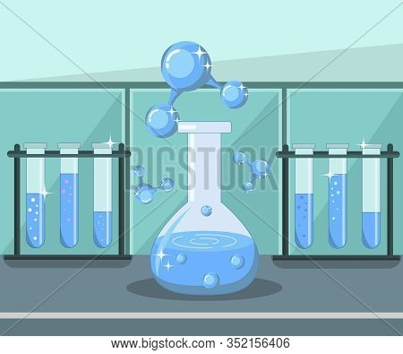 Water Research, Lab Analysis Flat Illustration. Chemistry, Molecular Biology Class, Biochemistry Les