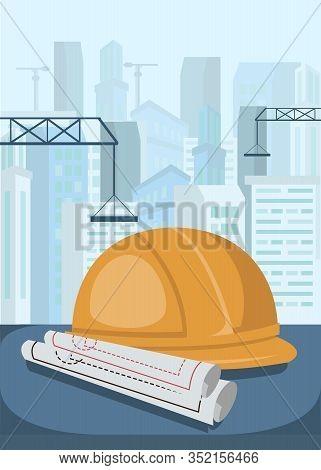 Construction Engineer, Foreman Job Illustration. Cartoon Vector Protective Helmet, Drafts On Table.