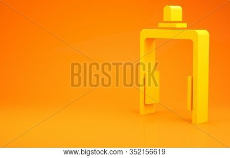 Yellow Metal Detector In Airport Icon Isolated On Orange Background. Airport Security Guard On Metal