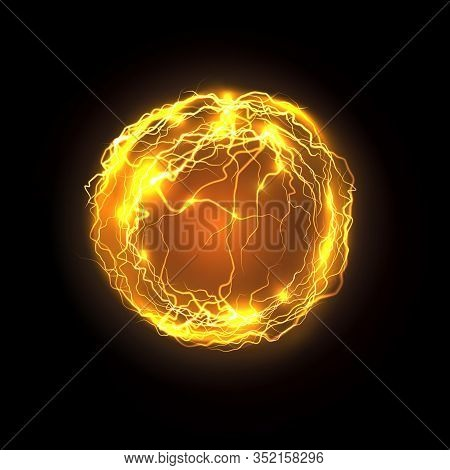 Magic Power Bolt And Lightning. Realistic Vector Energy Ball Or Magical Orb, Plasma Abstract Backgro