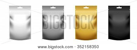 Set Of Realistic Blank Pouch Doypacks With Zip Lock