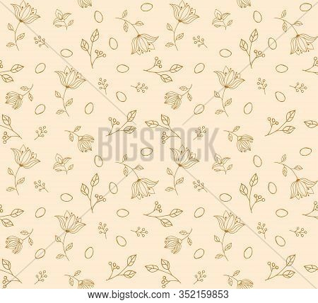 Easter Egg Seamless Beige Hand Made Pattern. For Clothes, Card, Paper. Duotone Background