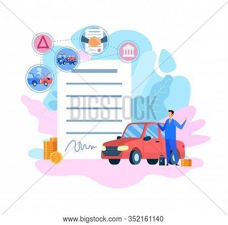 Car Insurance Service Flat Vector Illustration. Vehicle Protection. Traffic Collision, Auto Crash, A