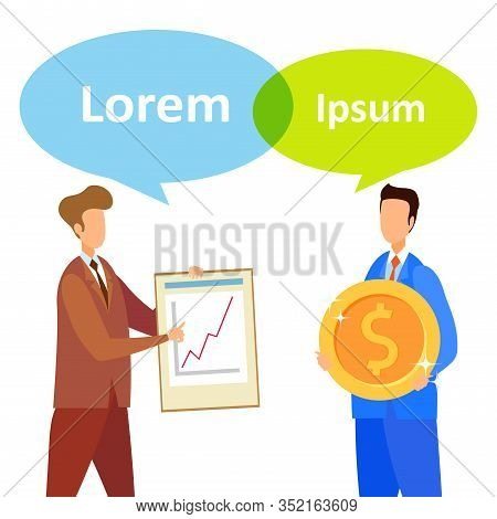 Finance Research Firm Service Social Media Banner. Businessman And Advisor Cartoon Characters. Inves