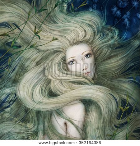 Mermaid Undersea, Beautiful Girl With Long Blonde Hair, Hand Drawn Illustration.
