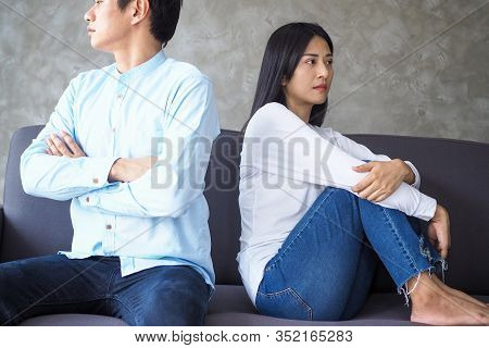 Couples Are Bored, Stressed, Upset And Irritated After Quarreling. Family Crisis And Relationship Pr