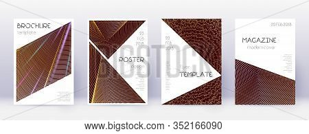 Triangle Brochure Design Template Set. Gold Abstract Lines On Bordo Background. Bold Brochure Design