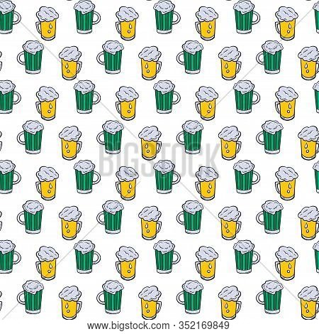 Seamless Pattern Of Glass Tankards Of Frothy Beer, Yellow Color