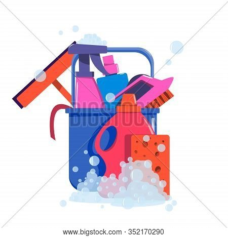 A Set Of Tools For Cleaning Rooms. Bucket, Brushes, Household Cleaning Products, Rag And Sponges.