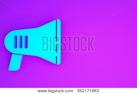 Blue Megaphone Icon Isolated On Purple Background. Loud Speach Alert Concept. Bullhorn For Mouthpiec