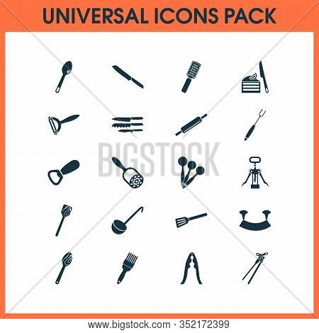 Kitchenware Icons Set With Cutlery, Wooden Spatula, Measuring Spoon And Other Crusher Elements. Isol