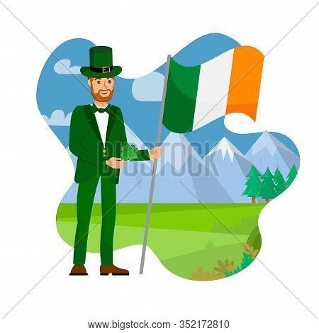Ireland Citizen With National Flag Illustration. Irishman Celebrate St Patrick Day Cartoon Character