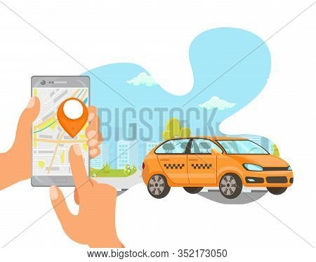 Ordering Taxi Flat Vector Cartoon Illustration. Holding Smartphone And Clicking On Mobile Screen Iso