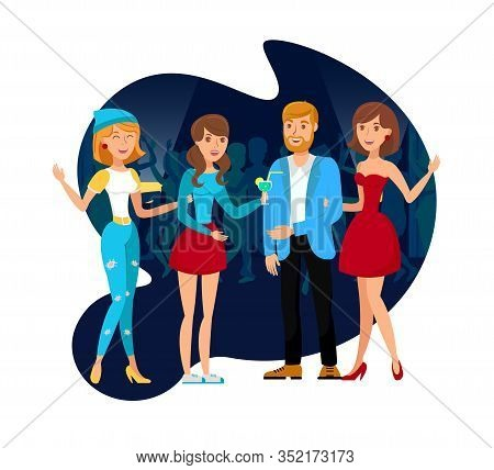 Nightclub Party With Colleagues Flat Illustration. Young Guy And Smiling Women Celebrating Cartoon C