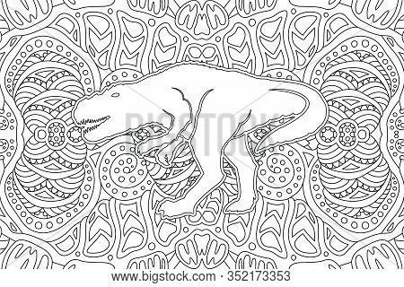 Monochrome Illustration For Coloring Book With White Dinosaur Silhouette On The Beautiful Linear Pat