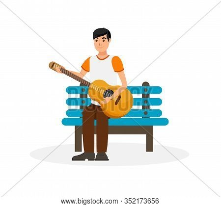 Handsome Man With Acoustic Guitar Illustration. Man With Musical Instrument Sitting On Bench Cartoon