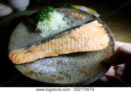 Grilled Salmon,salmon Steak Or Yaki Sake In Japanese Food