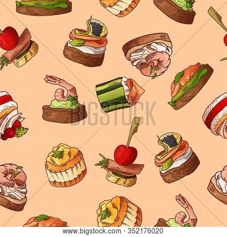 Seamless Pattern With Finger Food. Sketch Style Repeated Background. Bruschetta, Sandwich, Canapes A