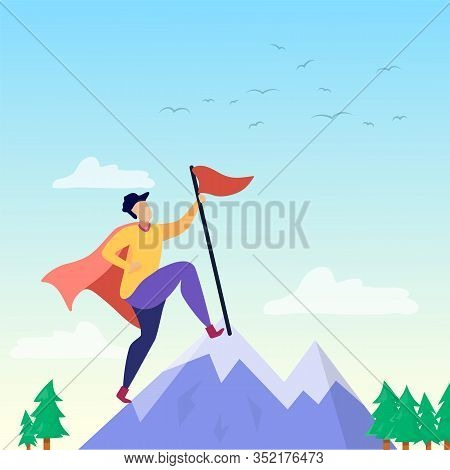 Super Man Or Woman In Cloak Putting Flag On Mountain Peak Financial And Business Success Goals Achie