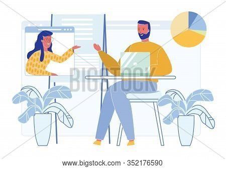 People Cartoon Characters, Business Partners Or Coworkers Discuss Business Strategy Plan And Coopera