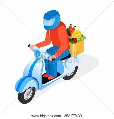Scooter Rider Delivers Food Isometric Illustration. Motorbike Rider, Courier Wearing Helmet Flat Cha