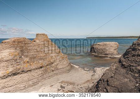 Coastal Limestone Formations, Raukar, At Byrum At The Swedish Island Oland, The Island Of Sun And Wi