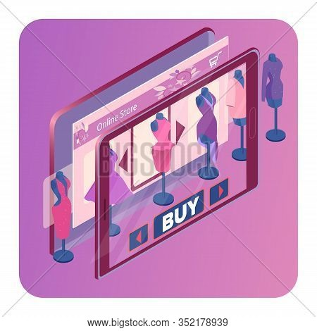 Online Clothes Store Isometric Banner Template. 3d Mobile Application Screen With Navigation Bar, Ch