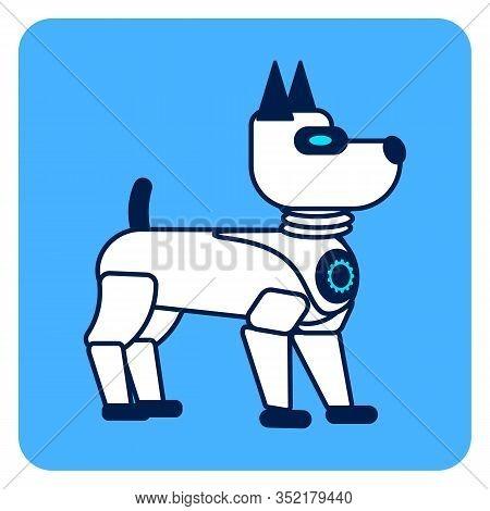 Robotic Domestic Animal Flat Vector Illustration. Electronic Dog, Pet Isolated Character. Futuristic