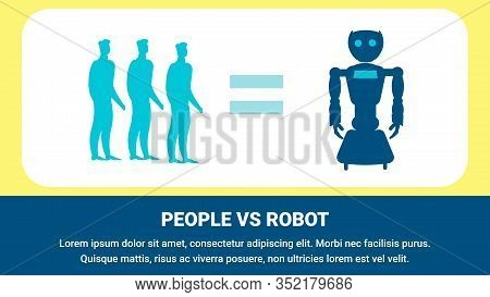Robot Replacing Human Workers Flat Banner Template. Futuristic Labor Market Typography With Text Spa