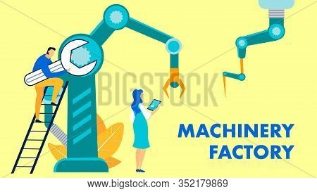 Machinery Factory Flat Vector Banner Template. Cartoon Male Worker Holding Spanner, Wrench Standing