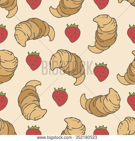 Seamless Vector Pattern With Classic Croissants And Strawberries