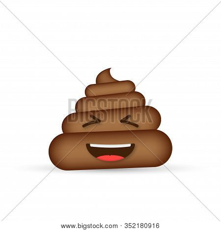 Poo Emoticon, Poop Face On White Background. Vector Stock Illustration