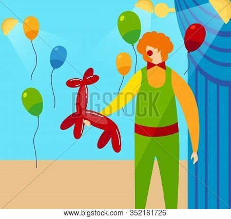 Funny Man In Clown Costume, Redhead Periwig On Head And Red Round Nose Holding In Hands Balloon In S