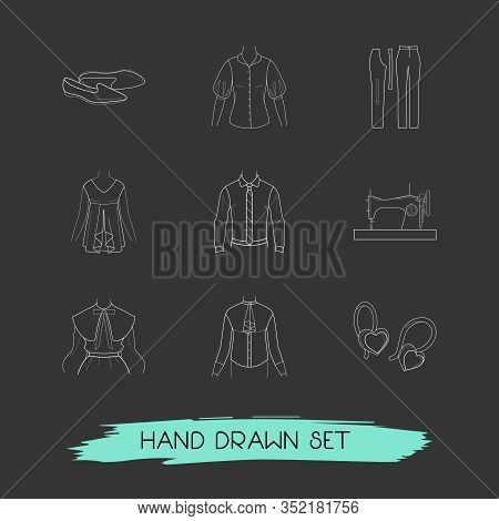 Set Of Garment Icons Line Style Symbols With Shirt With Tie, Flat Shoes, Top And Other Icons For You