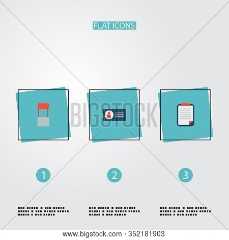 Set Of Advertising Icons Flat Style Symbols With Client Brief, Stand, Business Card Icons For Your W