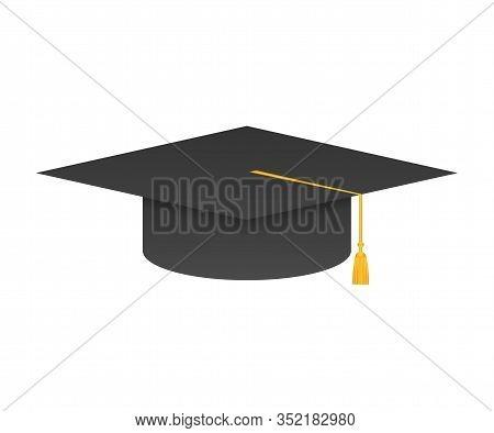 Graduation Cap With Tassel, Realistic Mortar Board. Vector Stock Illustration.
