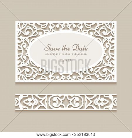 Cutout Paper Card And Seamless Lace Border Pattern. Vintage Ornamental Swirly Decoration. Template F
