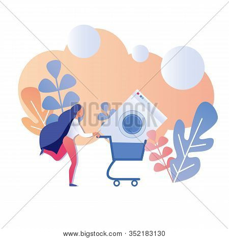 Cartoon Happy Woman Running Holding Shopping Cart With Washing Machine Grand Sale Promotional Banner