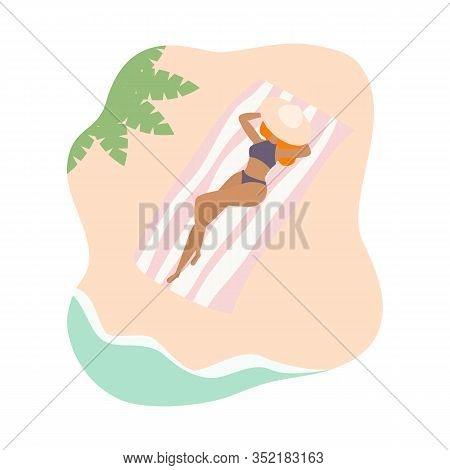 Illustration Of A Young Tanned Girl Lying On The Beach Under A Hat Near The Sea On A Striped Pink-wh