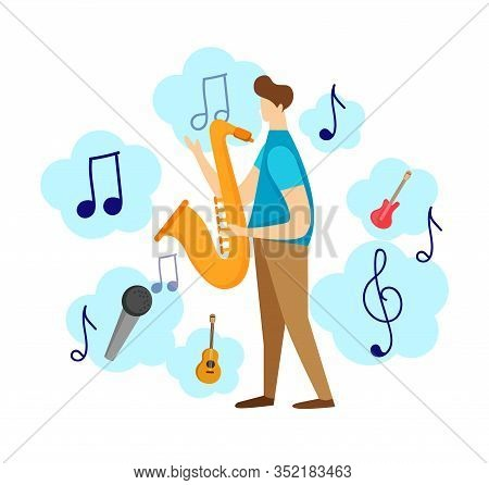 Colorful Modern Male Character Playing Jazz By Saxophone Isolated On White Background. Musical Icons