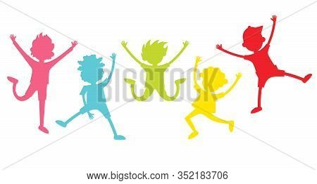 Happy Children Silhouettes. Collection Of Happy Children In Different Positions