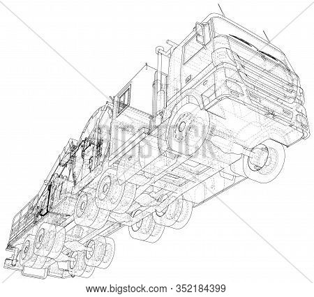 Oilfield Coiled Tubing Equipment. Coiled Tubing Reel On A Trailer. Wire-frame. The Layers Of Visible