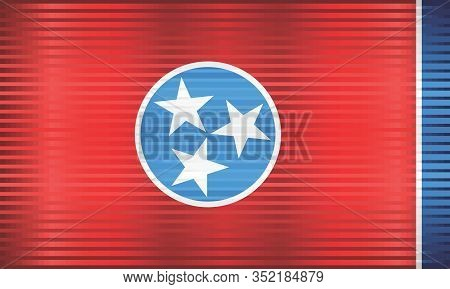 Shiny Grunge Flag Of The Tennessee - Illustration,  Three Dimensional Flag Of Tennessee