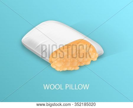 White Pillow With Woolen Filling. Sectional View. Cotton Pillowcase. Orthopedic Pillow. Healthy Slee