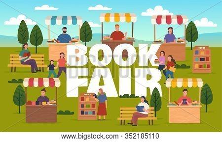 Book Fair On Street, Booth Stalls Bookcases. Outdoor Fair, Market Or Street Book Festival. Vector Il