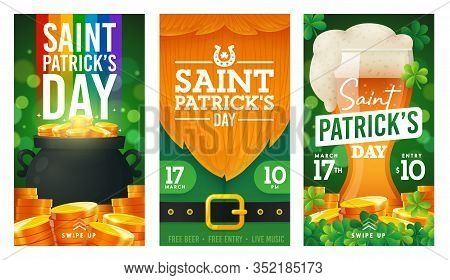 Social Media Stories Template On Theme St. Patricks Day. Set Of Banners Square Shape On Theme Patric