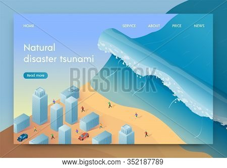 Vector Illustration Natural Disaster Tsunami. High Wave Is Approaching Big City. People Are Fleeing
