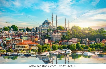 Istanbul City With The View On Golden Horn Bay